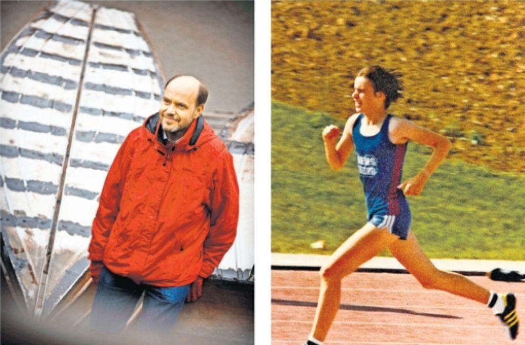 Gernot Gruber am Ebnisee (links) – wo er als Kind 1973 während eines Zeltlagers seinen ersten Mini-Marathon gelaufen ist – und 1979 als 1000-Meter-Läufer der LG Rems-Murr bei einem Wettkampf in Heilbronn. Foto: Stoppel/privat