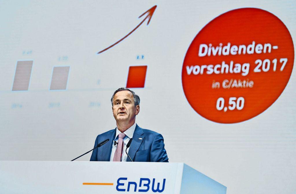 Der EnBW-Vorstandsvorsitzende Frank Mastiaux findet bei den Aktionären in Karlsruhe vorwiegend  Anerkennung. Foto: dpa