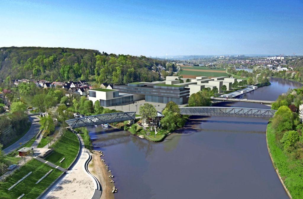 Das neue Rathaus (grau) und die Stadthalle sollen miteinander verwoben werden – auch, um die Bauzeit zu verkürzen. Foto: HHL Architekten