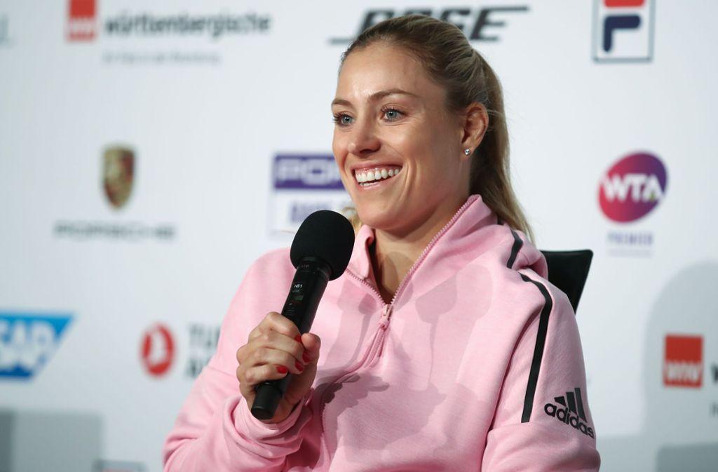 Gut gelaunt in Stuttgart trotz hartnäckiger Erkältung: Wimbledon-Siegerin Angelique Kerber. Foto: Getty