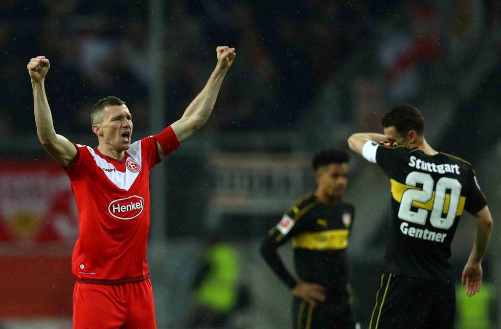 Fortuna Düsseldorf oben auf, der VfB musste wieder einmal eine Niederlage einstecken. Foto: Bongarts