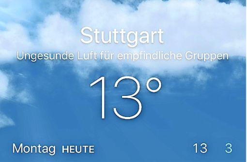 Apple warnt vor schlechter Luft in Stuttgart