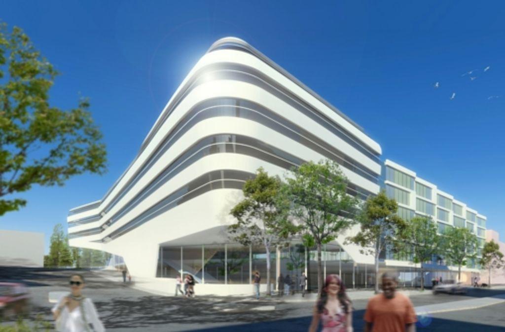 Noch existiert der Neubau anstelle der alten Mercedes-Niederlassung an der Türlenstraße nur als Animation. Das Gebäude könnte neuer Standort des Verbands Südwestmetall werden. Foto: : Icade Reim Deutschland