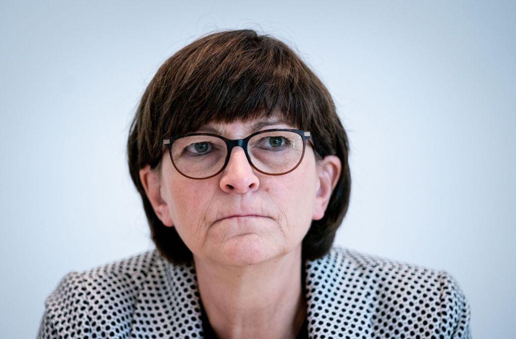 """Saskia Esken: """"Ich stehe der großen Koalition mit großer Skepsis und Kritik gegenüber"""". Foto: dpa/Kay Nietfeld"""