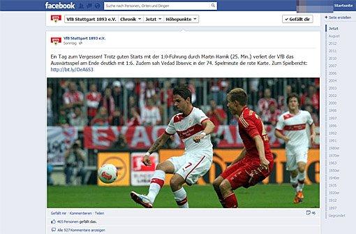 Geknickte VfB-Spieler auf Facebook