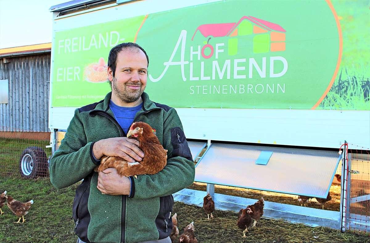 Insgesamt 240 Hennen und drei Hähne leben im vollautomatisierten, mobilen Hühnerstall von Werner Elsäßer. Foto: Caroline Holowiecki