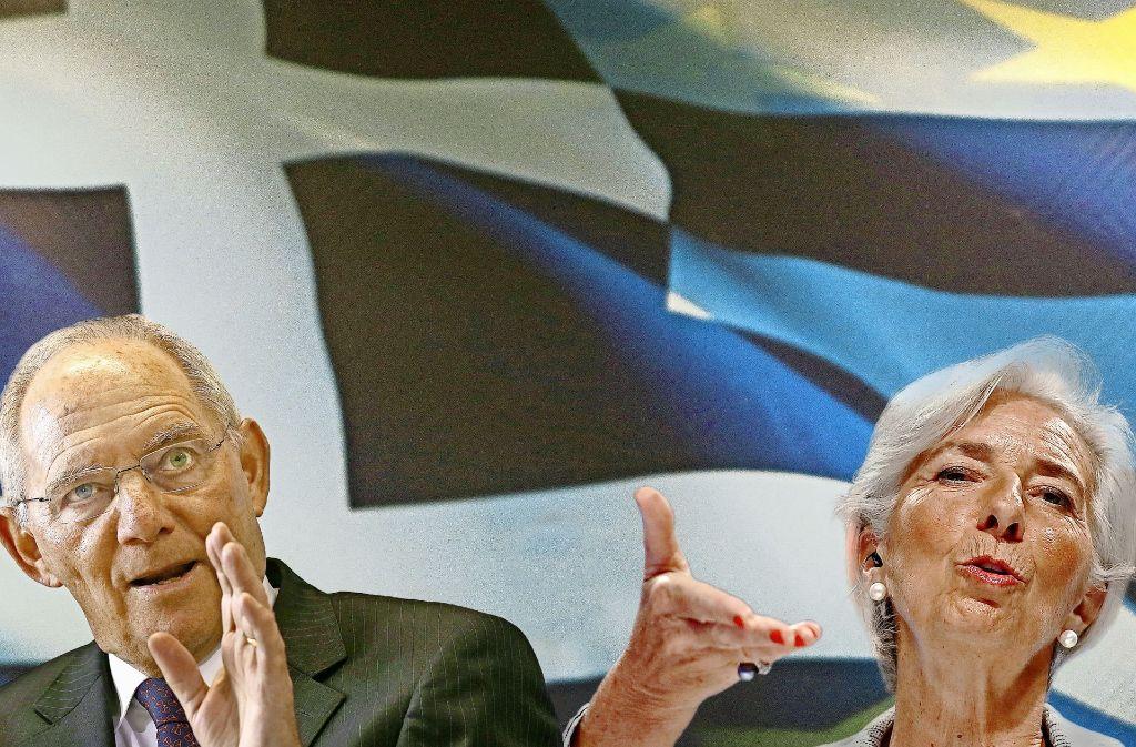 Schäuble würde die Finanzprobleme in Europa gerne ohne den von Christine Lagarde geführten IWF bewältigen. Foto: