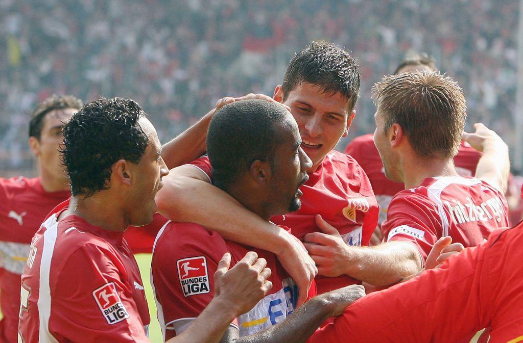 Thomas Hitzlsperger, Mario Gomez und Cacau (v.r.n.l.) erzielten die Tore für den VfB Stuttgart beim 3:2-Sieg gegen den VfL Bochum am 12. Mai 2007. Foto: Pressefoto Baumann/Alexander Keppler