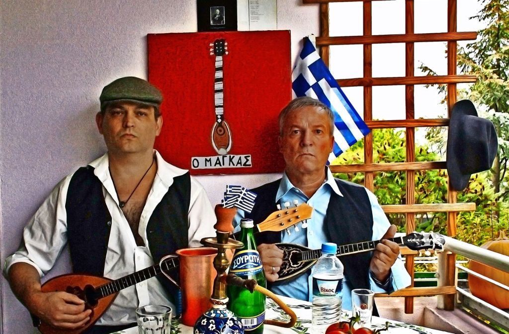 """Bei der  langen Nacht der Museen spielt das Duo """"Lefta""""  Rembetiko im Atelier von Uschi Lux auf dem Schick-Areal. Foto: privat"""