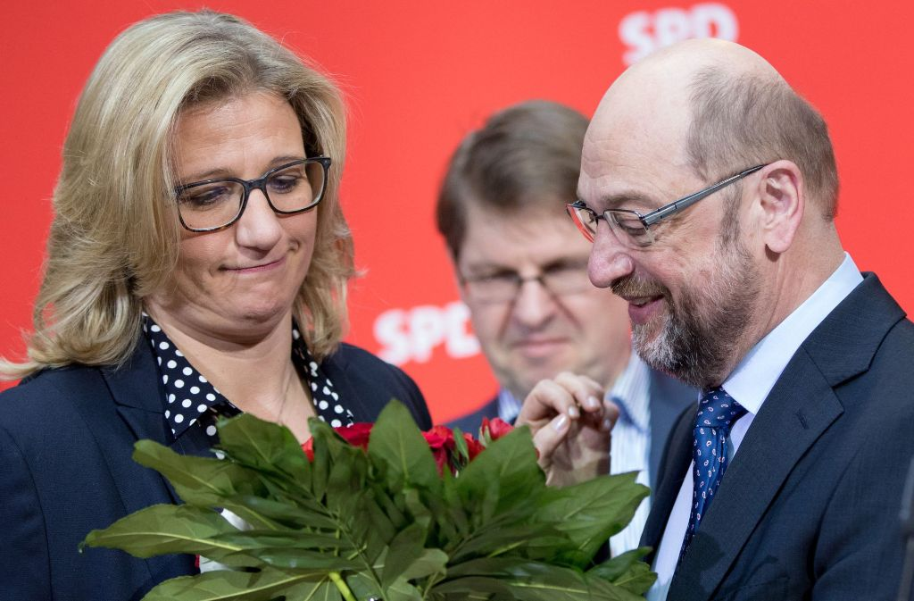 SPD-Chef Martin Schulz und Saar-Spitzenkandidatin Anke Rehlinger am Montag in Berlin. Foto: dpa