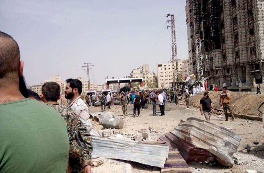 Straße in Damaskus nach einem Terrorangriff. Foto: SANA