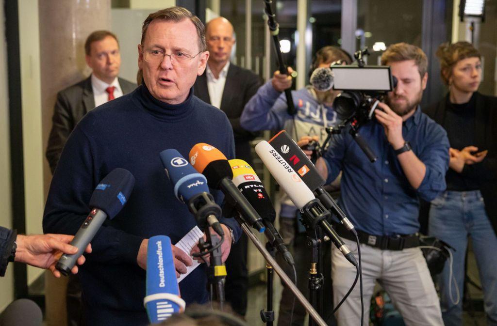 Am 4. März wird in Thüringen erneut gewählt. Dann steht auch Bodo Ramelow (Linke) wieder zur Auswahl. Foto: dpa/Michael Reichel