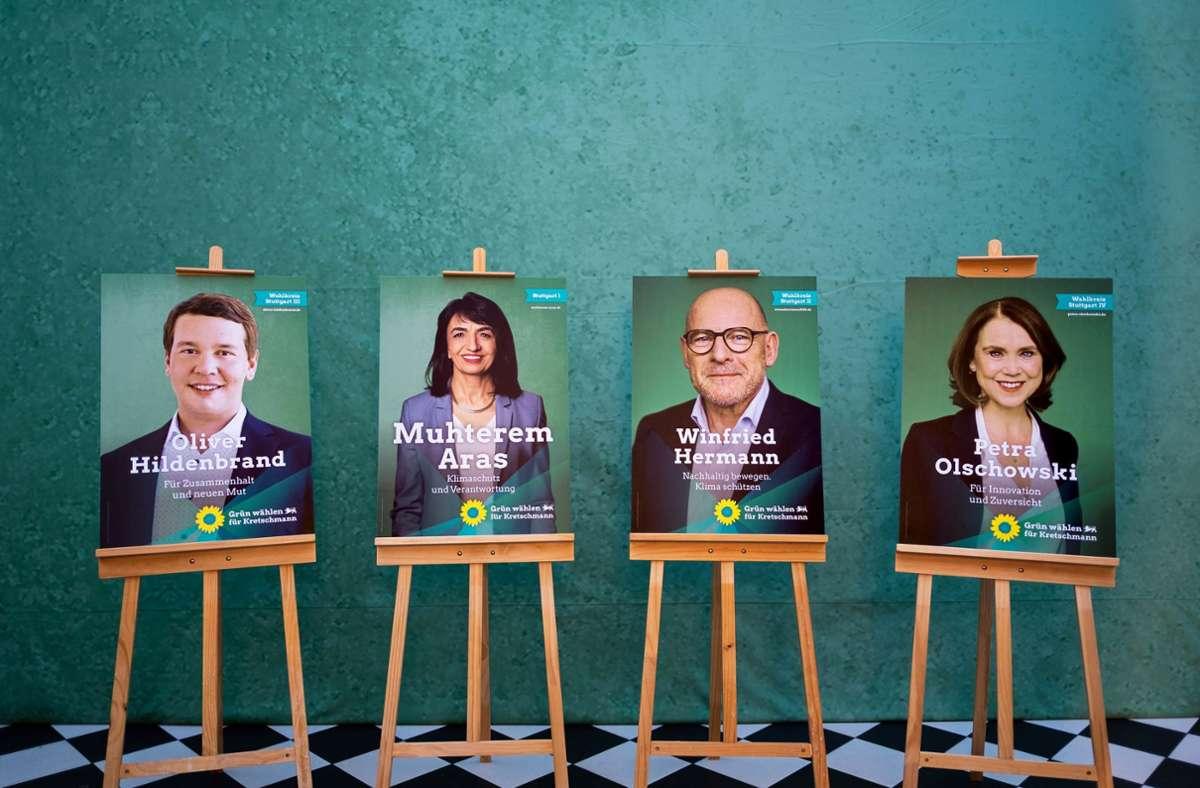 Die Stuttgarter Grünen bieten in den Stuttgarter Wahlkreisen am 14. März ein prominentes Kandidatenquartett auf. Von links: Oliver Hildenbrand, Muhterem Aras, Winfried Hermann und Petra Olschowski Foto: Grüne