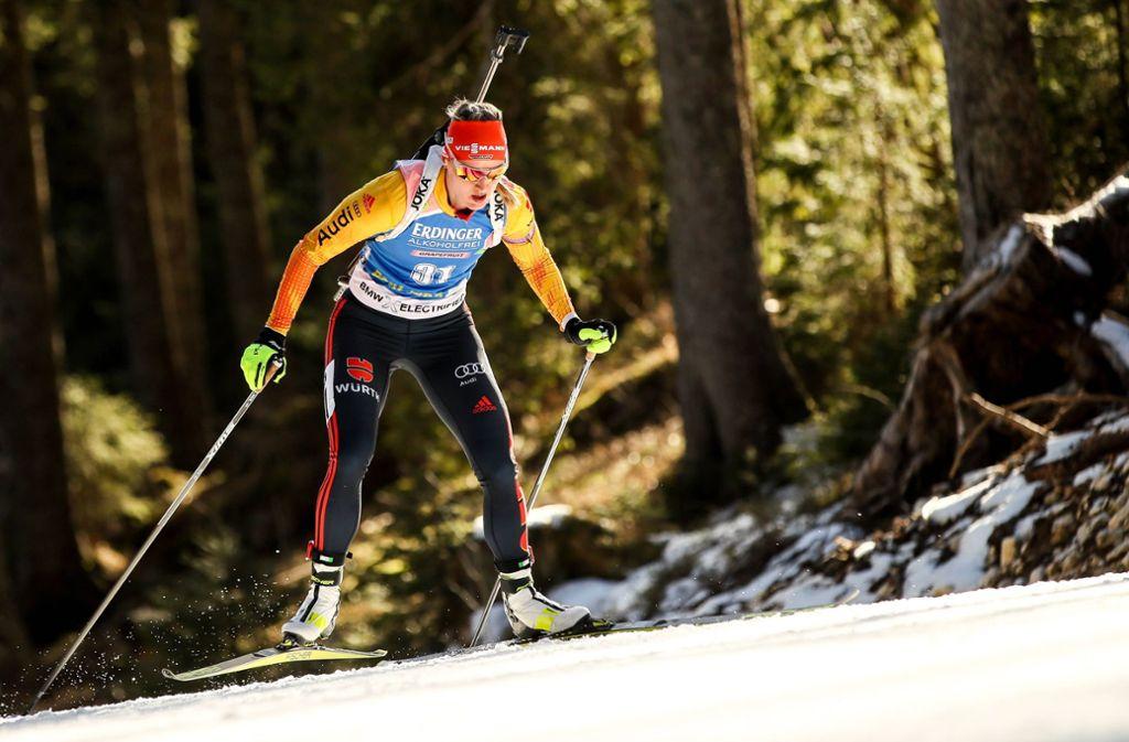Nach einer Strafrunde für Denise Herrmann hat das Team schon früh kaum mehr Chancen. Beim Biathlon-Weltcup in Slowenien (im Bild) hatte sie mehr Erfolg. Hier holte sie den Sieg im Einzel. Foto: imago images/GEPA pictures/Matic Klansek