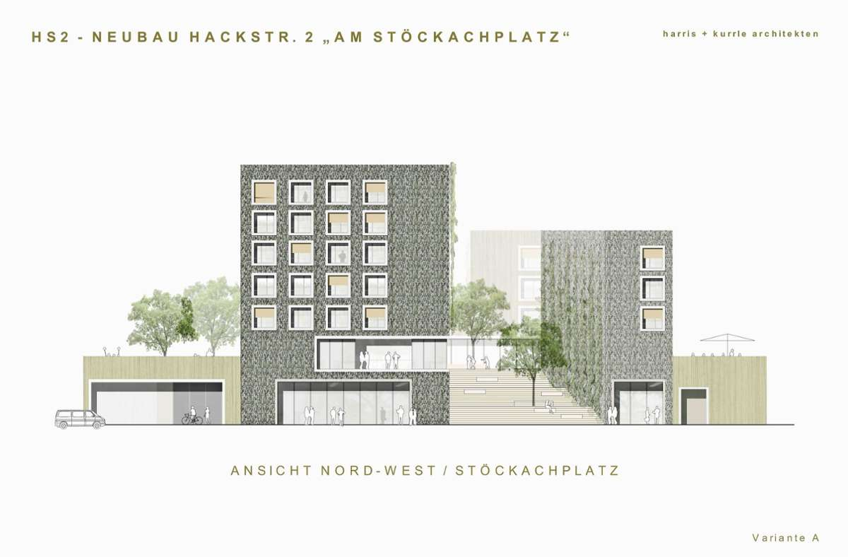 Erste Ideen für mögliche Fassaden am Stöckachplatz Foto: harris+kurrle architekten