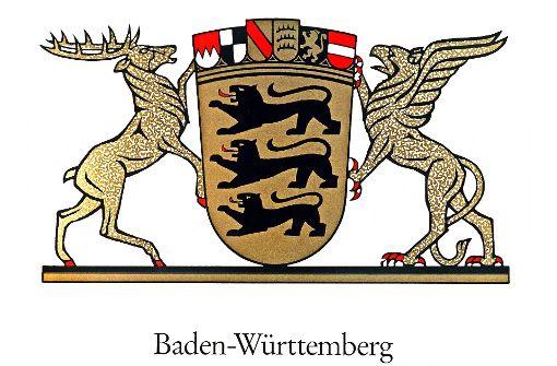 Das Landeswappen von Baden-Württemberg  zeigt einen Hirsch, einen Greif und drei Löwen. Foto: dpa