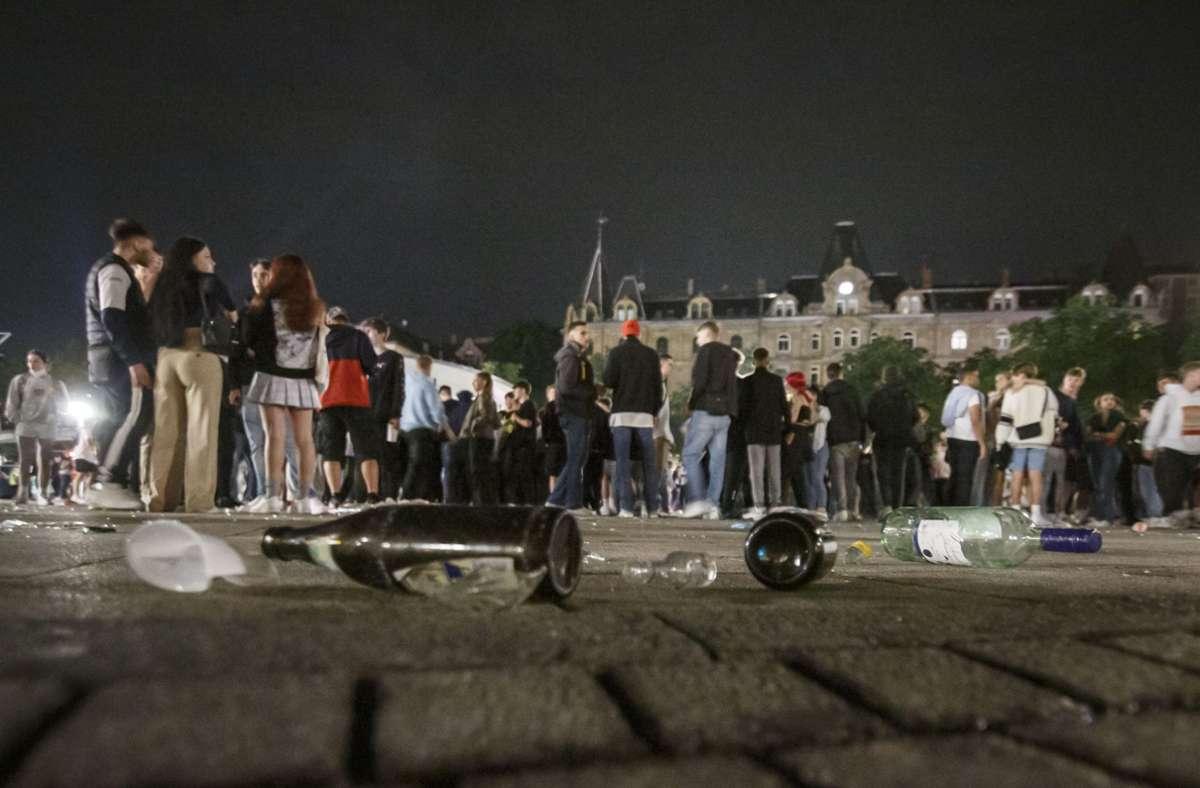 Am Marienplatz und am Feuersee ist am Samstag um Mitternacht Ende der Party. Foto: Lg/Julian Rettig