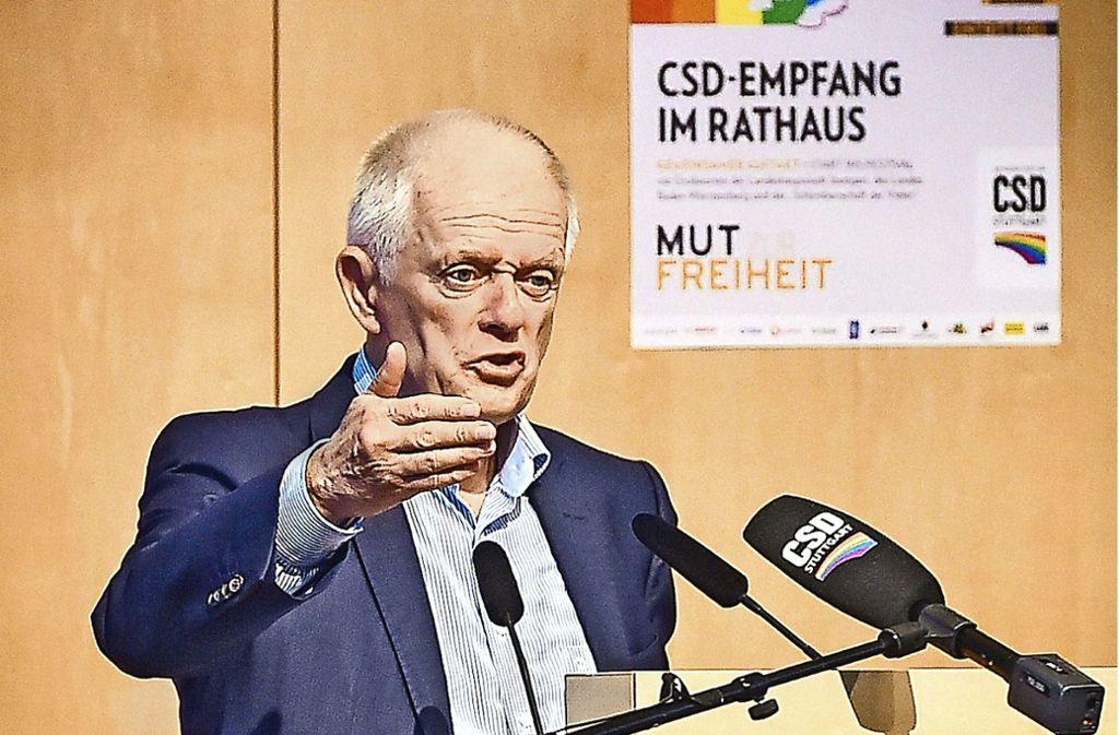 OB Fritz Kuhn spricht beim CSD-Empfang im Rathaus. Foto: Lichtgut/Ferdinando Iannone