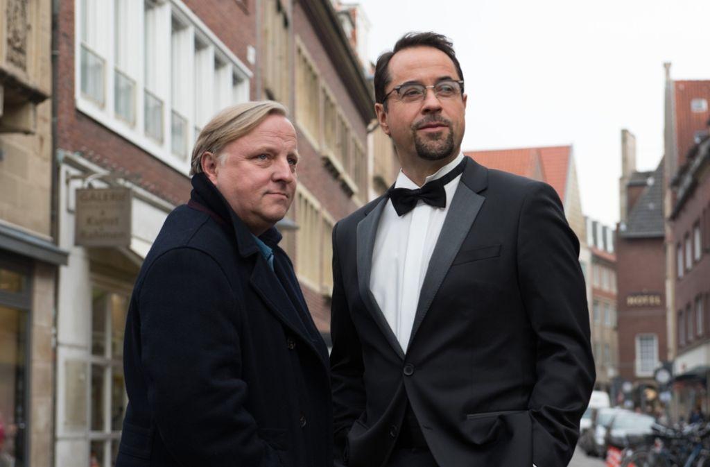Das Erfolgs-Duo aus Münster feiert Jubiläum: Axel Prahl (links) und Jan Josef Liefers Foto: dpa
