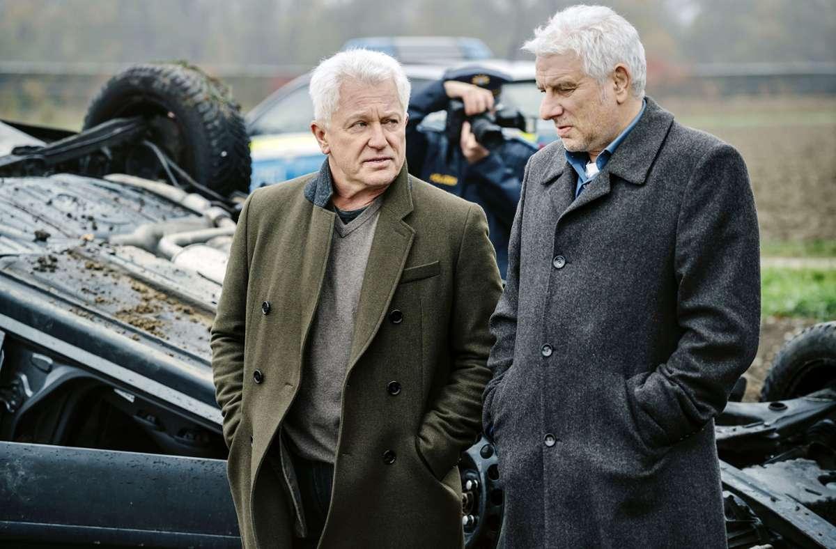 Batic (Miroslav Nemec) und Leitmayr (Udo Wachtveitl) merken bald, dass ein angeblicher Unfall keiner war. Foto: BR/Roxy Film/Marco Nagel