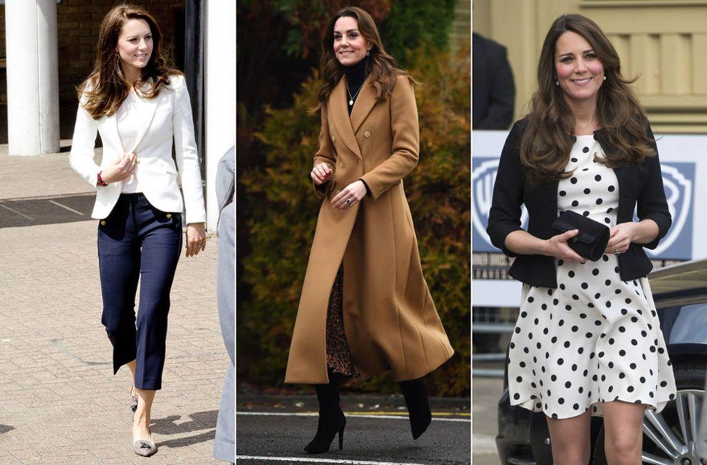 Drei Outfits, die kein Loch in den Geldbeutel reißen: Herzogin Kate trägt nicht nur Designermode. Foto: Imago