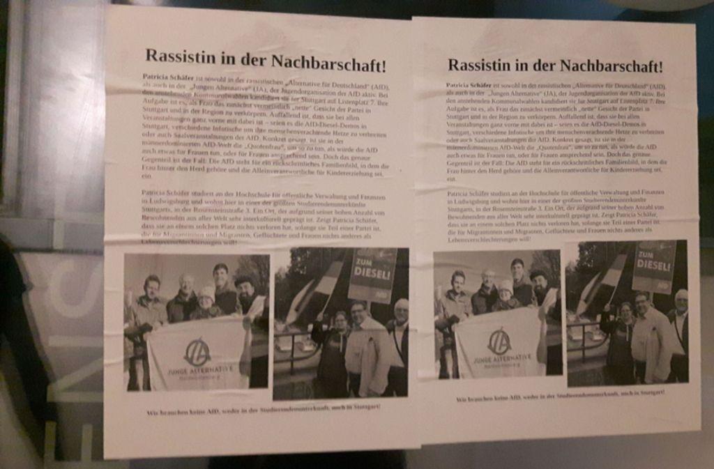 Unbekannte gingen mit Flyern gegen die Stuttgarter AfD-Spitzenkandidatin in deren Studentenwohnheim vor. Sehen Sie in unserer Bildergalerie die Schattenseiten des Kommunalwahlkampfs in Stuttgart. Foto: AfD