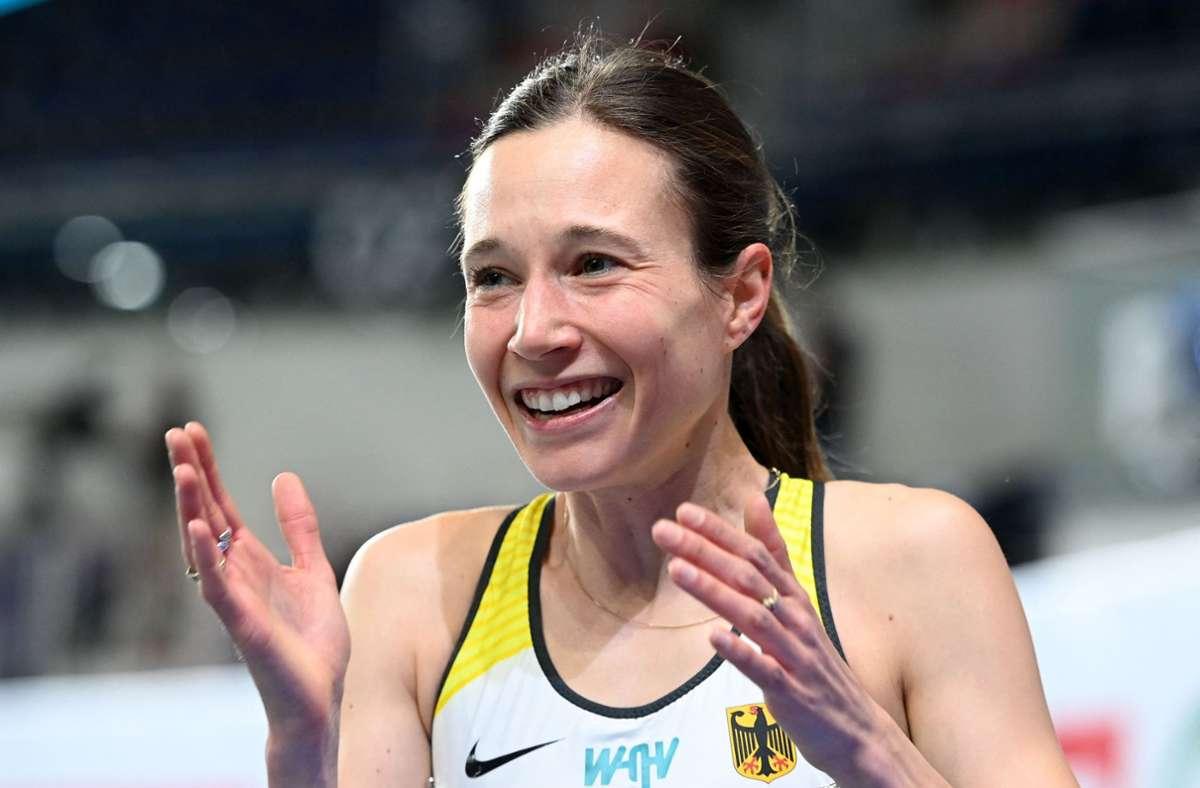 Für die Psychologiestudentin ist es der erste Medaillengewinn bei einem internationalen Titelkampf. Foto: AFP/SERGEI GAPON