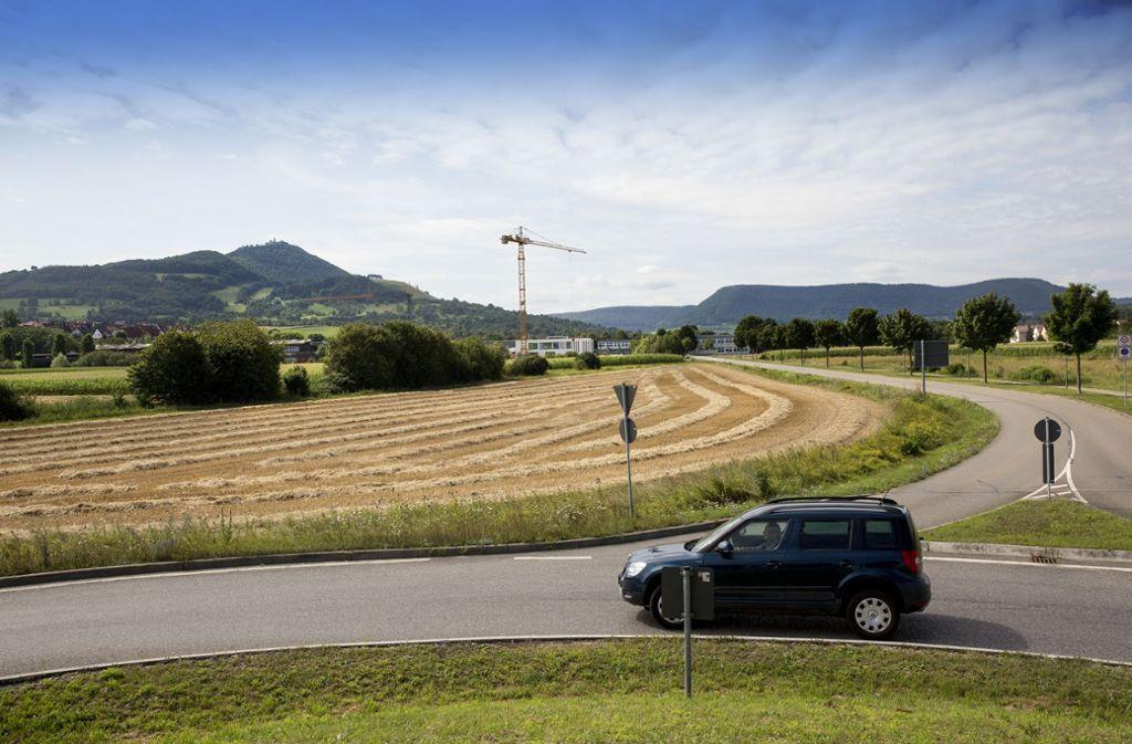 """Die """"Unteren Wiesen"""" sind zur Bebauung vorgesehen. Auf rund 6,5 Hektar soll ein Vorzeigequartier entstehen. Foto: Horst Rudel"""