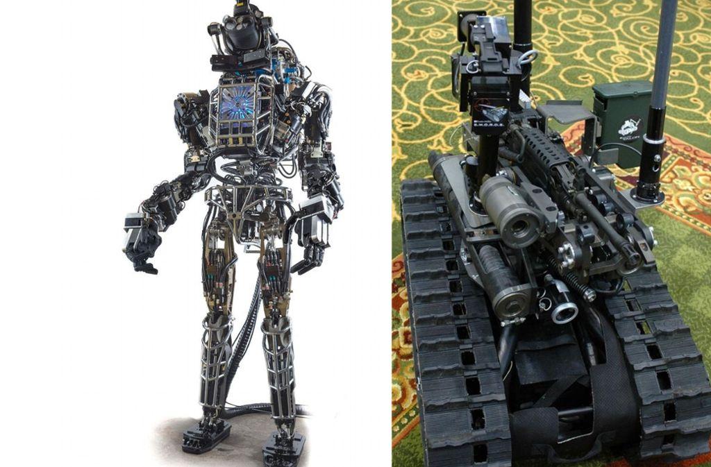 """Prototyp des  humanoiden Roboters  """"Atlas"""" von Boston Dynamics """"Atlas"""" (links). Er soll für das US-Verteidigungsministerium Fahrzeuge steuern und in gefährlichen Umgebungen arbeiten. Der US-Kampfroboter SWORDS ist t das erste am Boden eingesetzte ferngesteuerte bewaffnete Robotersystem. Foto: Wikipedia commons/DARPA/"""