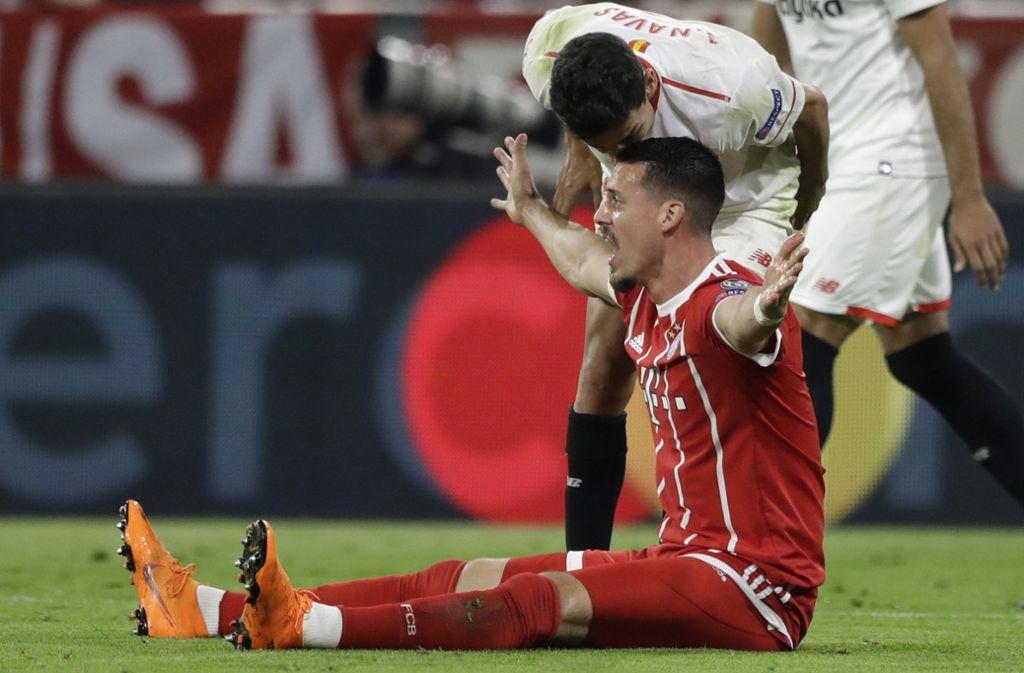 Der FC Bayern München erreicht mit einem 0:0 gegen den FC Sevilla das Halbfinale der Champions League. Foto: AP
