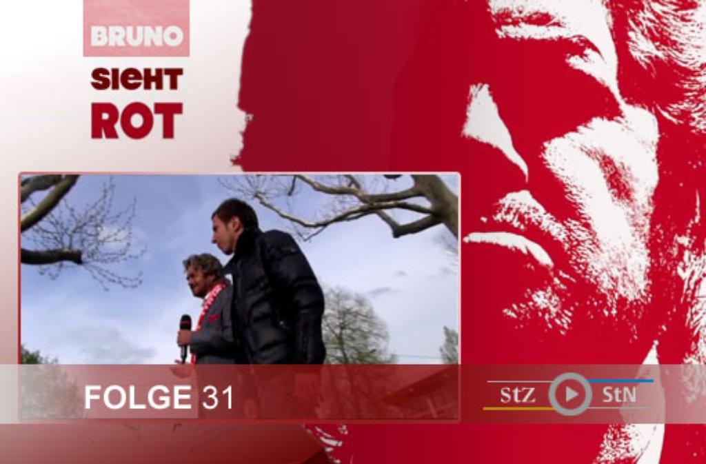 Hier ein paar Eindrücke von den Dreharbeiten zur 31. Folge von Bruno sieht rot auf der Mercedesstraße in Stuttgart-Bad Cannstatt. Bruno Stickroth hat sich bei einem Spaziergang ausführlich mit Tobias Rathgeb, dem Mannschaftskapitän des VfB Stuttgart II, unterhalten. Foto: SIR