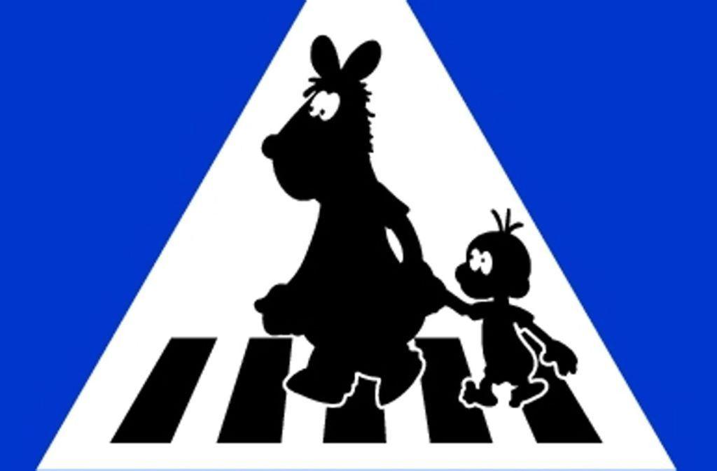 So sollte das Zebrastreifen-Verkehrsschild mit Pferdle und Äffle nach einem Entwurf von Heiko Volz aussehen. Foto: