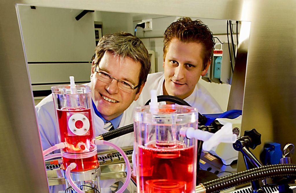 Stefan Jockenhövel (links) und Sebastian Olszewski inspizieren eine künstliche Herzklappe (gelbes Teil im oberen Abschnitt des Bioreaktors). Foto: Winandy, RWTH Aachen