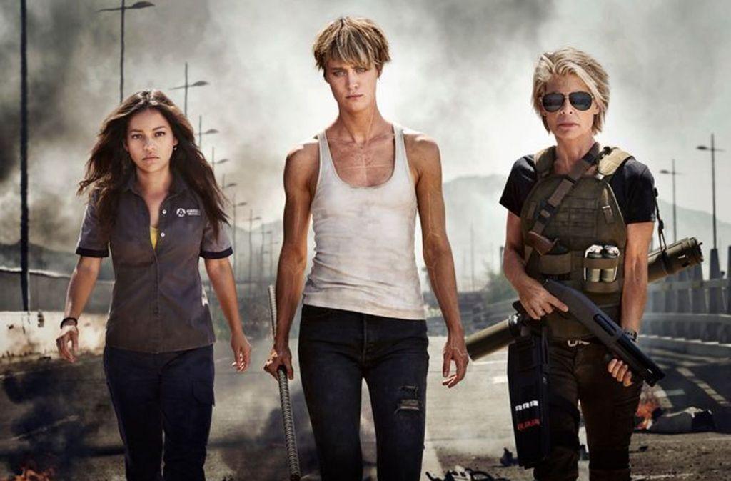 """Drei starke weibliche Hauptfiguren – """"Terminator"""" ist in 2019 angekommen. Foto: glomex"""