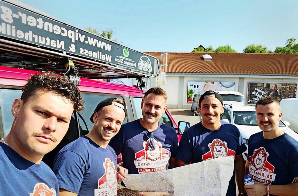 Für einen guten Zweck haben sich Andreas Heth, Manuel Wagner, Marc Menzel, André Kindler und Marc Leuthold (von links) mächtig ins Zeug gelegt. Foto: /privat