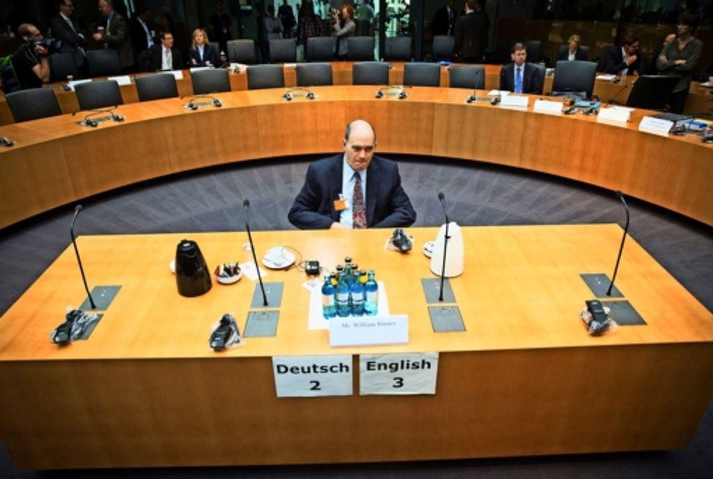 William Binney, einst technischer Direktor der NSA, bei seinem Auftritt in Berlin Foto: dpa