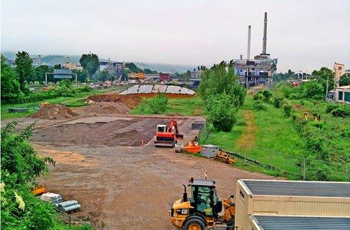 Der Grundriss des neuen Umspannwerkes in Gaisburg  ist schon erkennbar. Foto: Jürgen Brand