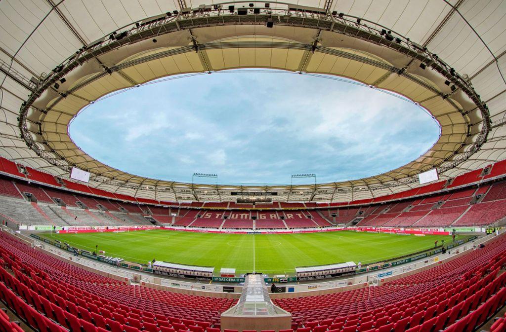 In einer nahezu unbesetzten Mercedes-Benz-Arena wird demnächst wieder um Punkte gekämpft Foto: imago images/Steffen Kuttner