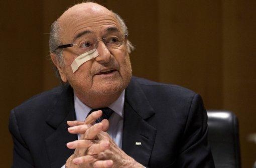 Joseph Blatter bei seiner Pressekonferenz in Zürich. Foto: dpa