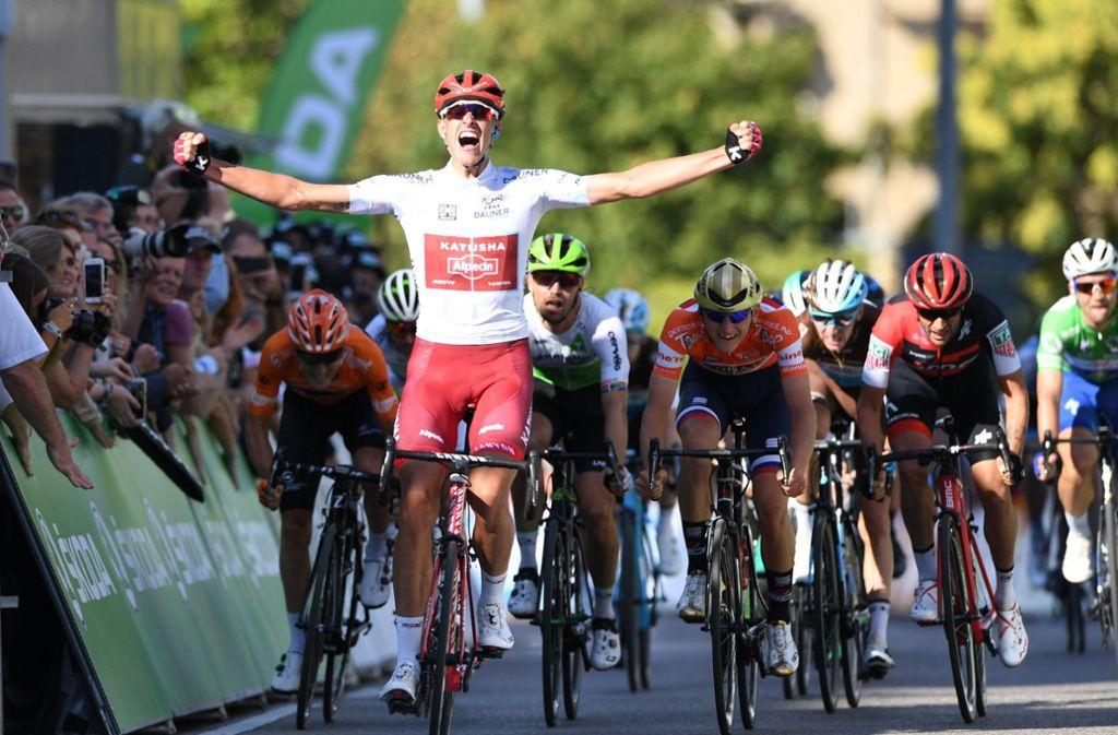 Nils Politt gewann 2018 die Schlussetappe der Deutschlandtour in Stuttgart. Foto: dpa