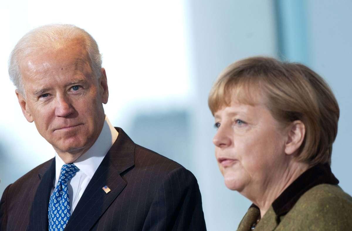 Joe Biden  und Angela Merkel kennen sich gut aus der Zeit des Amerikaners als Vize-Präsident von  Barack Obama. (Archivbild) Foto: dpa/Maurizio Gambarini