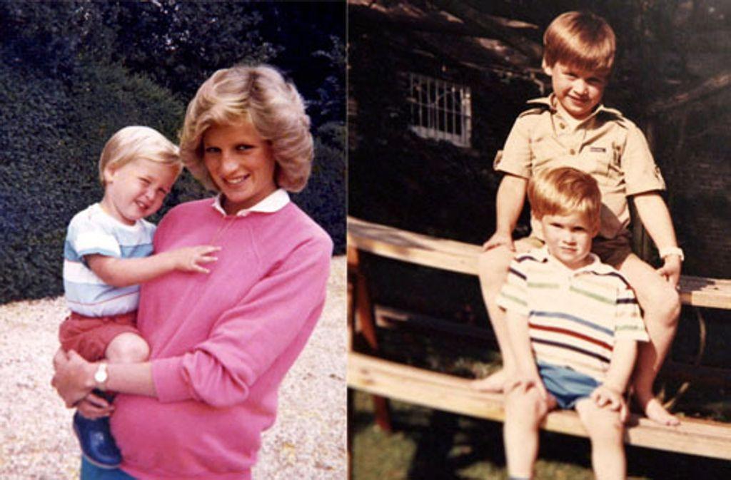 Anlässlich des 20. Todestages von Prinzessin Diana veröffentlichen die britischen Royals private Bilder aus dem Familienfotoalbum. Foto: AFP/AP (Collage)