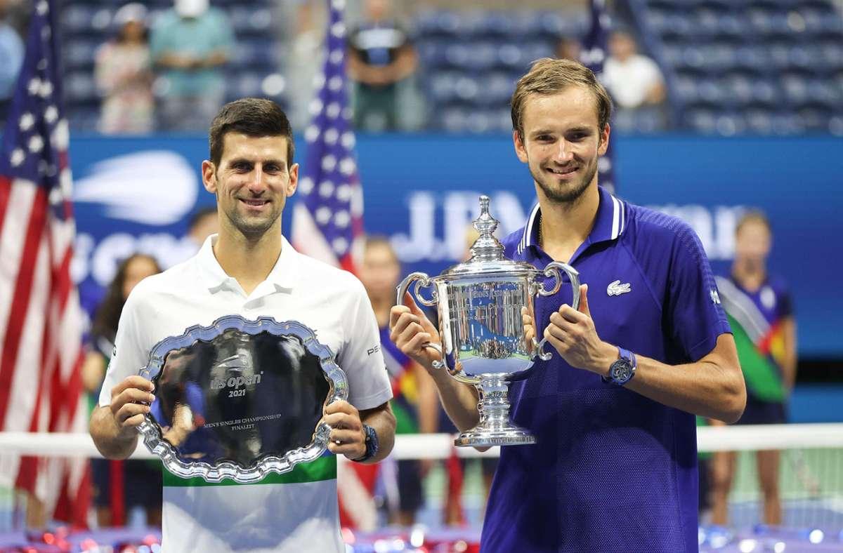 Medvedev machte Djokovic seinen Rekord zunichte und gewann die US Open. Foto: AFP/MATTHEW STOCKMAN