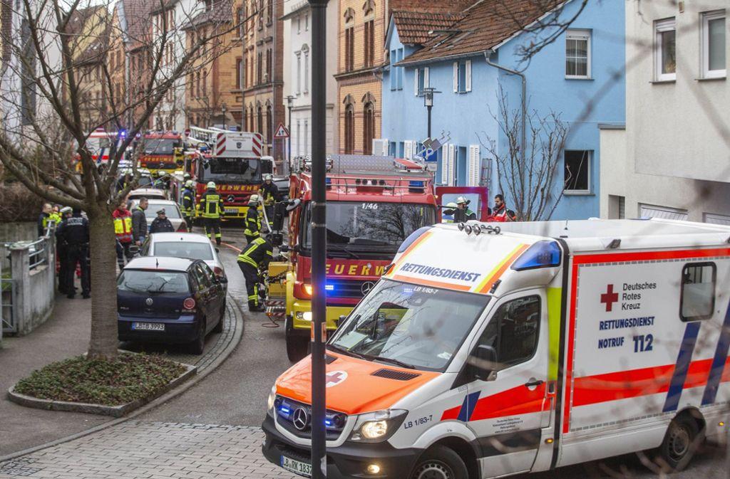 Ein Großaufgebot an Rettungskräften in der Ludwigsburger Bogenstraße. Foto: 7aktuell.de/Simon Adomat