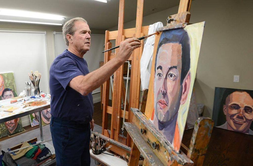 """Ex-Präsident in Aktion: Für seinen Bildband """"Portraits of Courage"""" hat George W. Bush 98 verwundete US-Soldaten porträtiert. Foto: georgewbush / Instagram"""