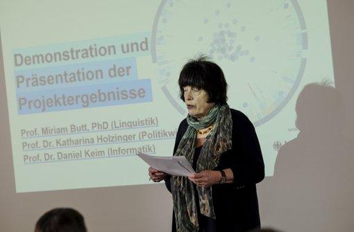 Staatsrätin Gisela Erler lobte im Bahnhofsturm die Beteiligungspolitik der grün-roten Landesregierung. Foto: Lichtgut/Leif Piechowski