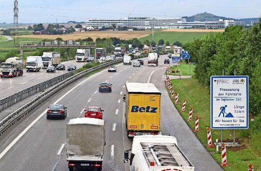 Große Ferienbaustelle auf der Autobahn 81