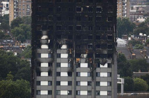Der zu großen Teilen ausgebrannte Grenfell Tower. Foto: AFP