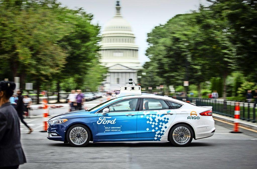 Der Autobauer Ford testet selbstfahrende Autos in der Praxis – wie hier in Washington D.C. Foto: Ford-Werke GmbH