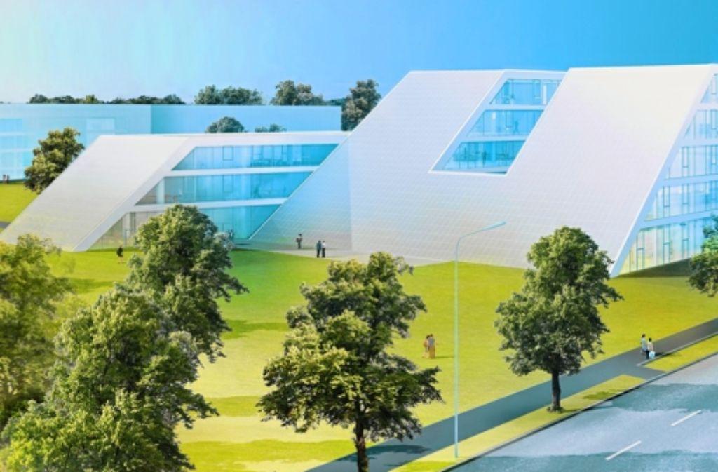 Wände aus Glas, die schrägen Flächen bestückt mit Fotovoltaik-Elementen Foto: Hahn und Kolb
